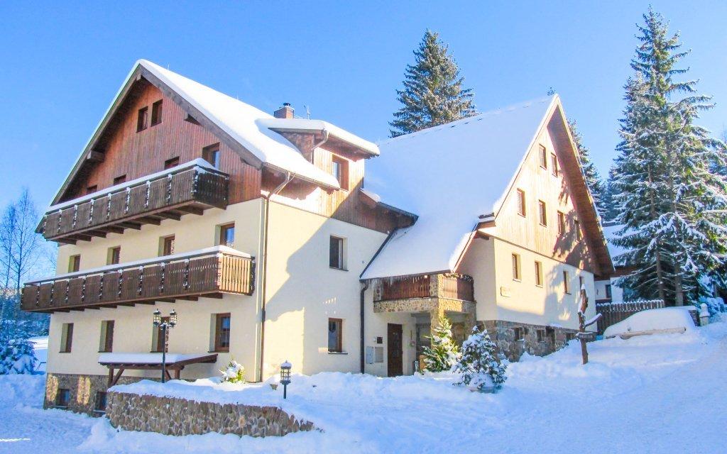 Šumava v Penzionu Alpský Dům s polopenzí jen 250 m od ski areálu + dítě zdarma